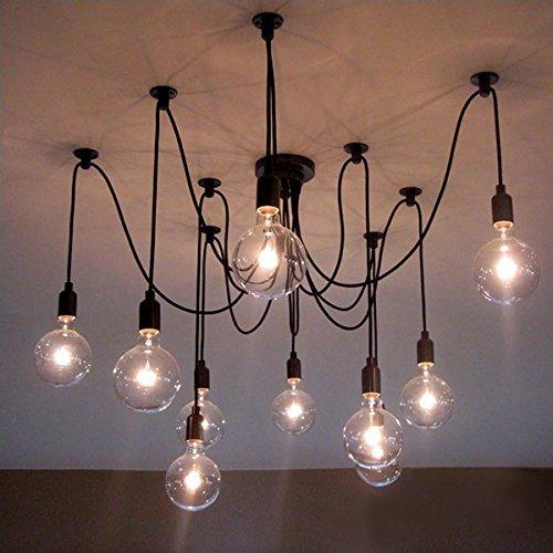 BOKT 10 lights creative fairy vintage edison lamp shade multiple adjustable diy ceiling spider pendent lighting chandelier 10 ligh