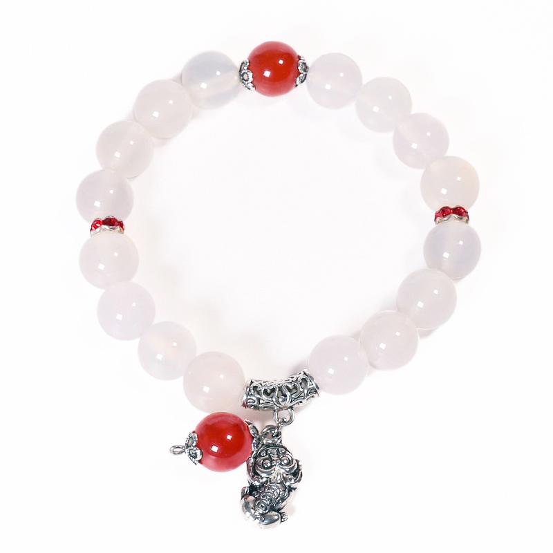 JingTian Белый агат красный бисер Traditional Chinese jingtian драгоценности агат халцедон кулон благополучно кольцо
