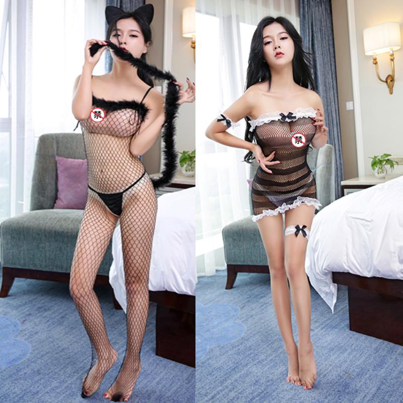 JD Коллекция л ин сексуального леопард пижама sling lingerie strip уход груди площадку сексуальному соблазнову белье прозрачную вуаль с ушами 8590