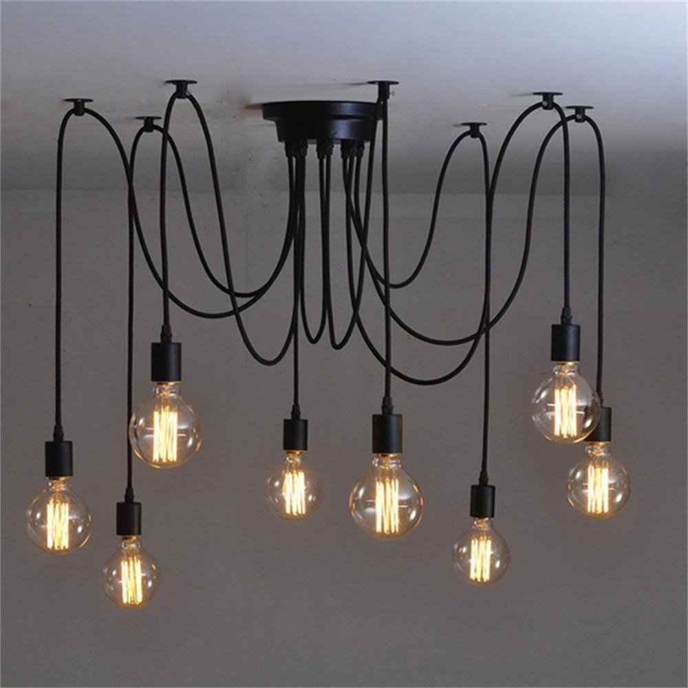BOKT 8 lights vintage edison lamp shade multiple adjustable diy ceiling spider lamp pendent lighting chandelier modern chic easy fit