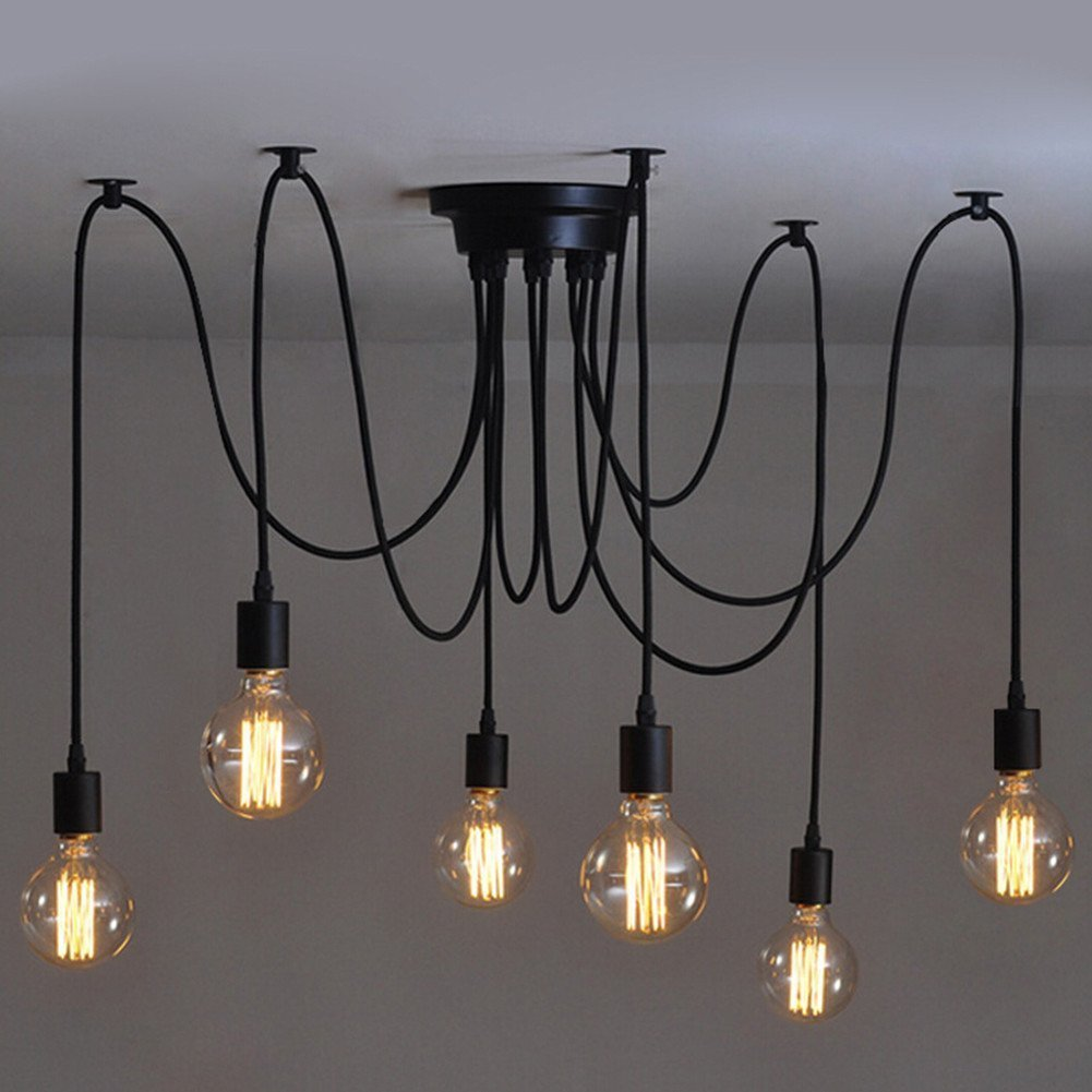BOKT lukloy pendant lights vintage multiple edison diy adjustable cords ceiling spider light pendant lamp industrial lighting