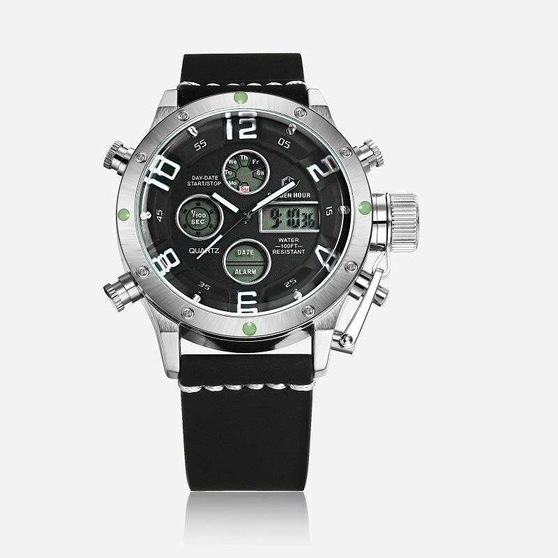 Водонепроницаемые мужские пояса Кожаный ремешок Светодиодные цифровые часы GOLDEN HOUR Black Dial Мужские наручные часы черного пояса фото