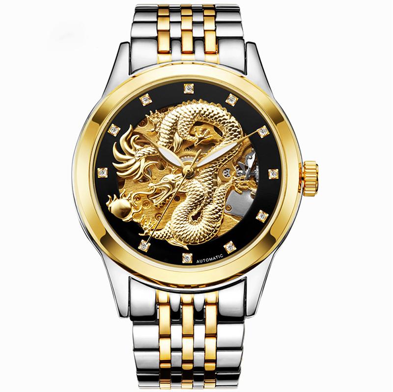 MEGIR Чёрный циферблат Стальный ремешок для часов Часы для мужчины золотые часы