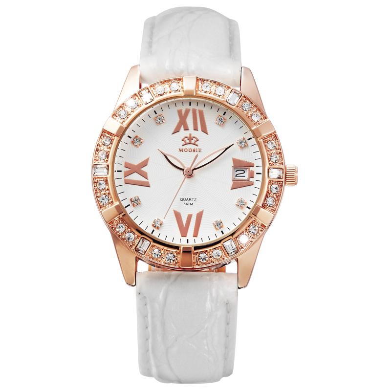 MOOSIE розово-золотой белый ремень top leather watches box black 20 grids watch storage boxes fashion brand watch display box jewelry watch gift cases