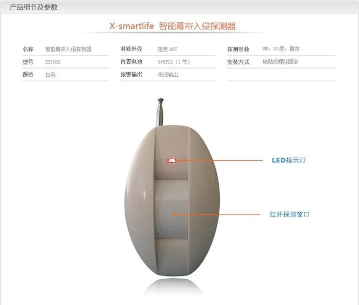x智慧生活(x-smartlife)入侵探测器 无线红外幕帘人体