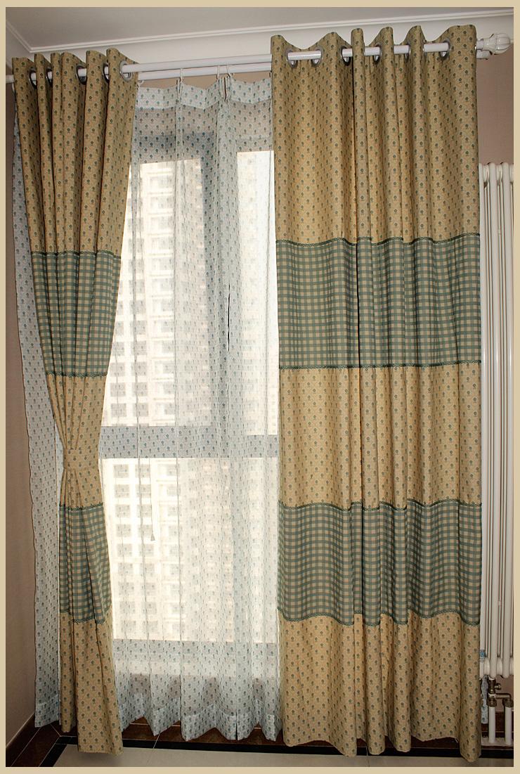 曼凯维奇 英式田园涤棉印花窗帘 客厅卧室绿色小花布图片