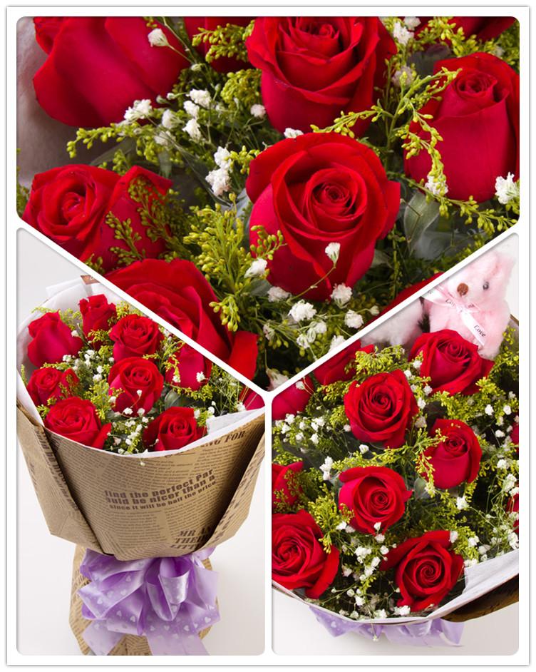 乐之恋 11支红玫瑰鲜花速递 玫瑰花 生日送花h0241 11