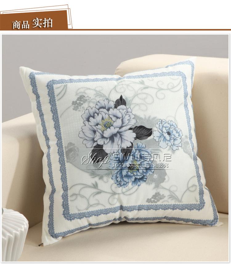 诗凡尼 现代中式床头沙发大靠垫含芯靠枕腰枕大靠背布艺抱枕套 诗情画图片