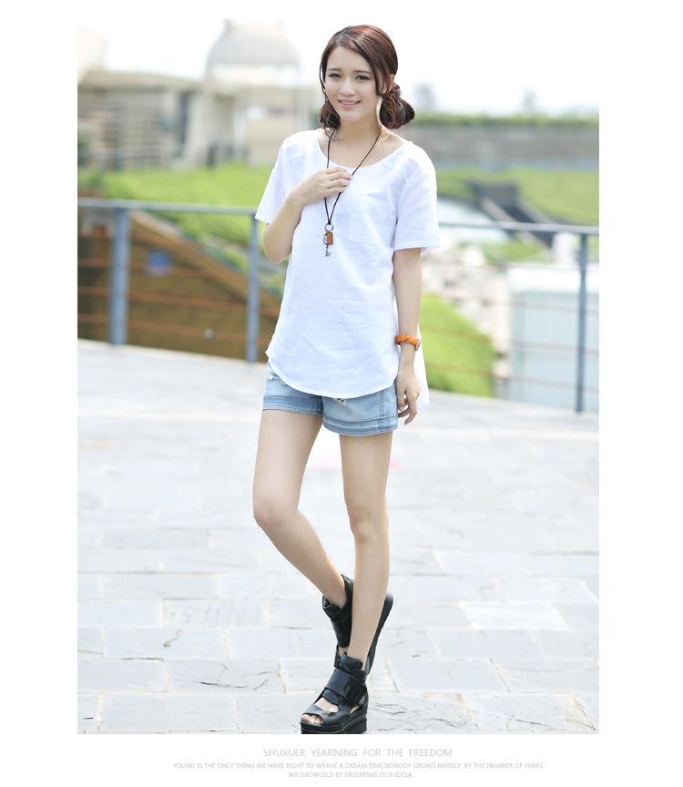 2014夏装新款女装韩版款式衬衣中长款纯棉衬衫女短袖上衣#n6815 白色