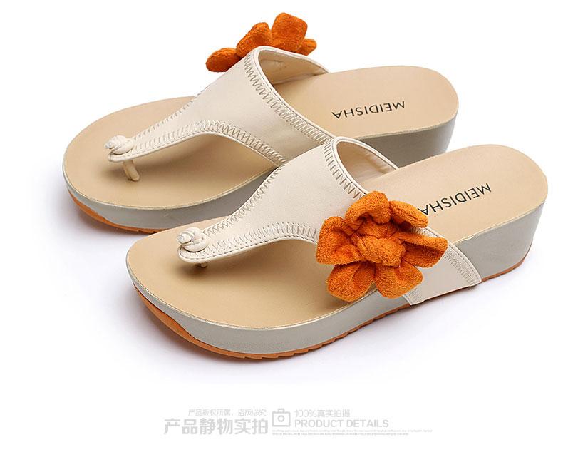 玫蒂莎正品2014夏季新款女鞋坡跟中跟韩版人字拖女