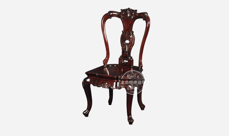 允典红木家具 花梨木 99-1欧式餐厅副餐椅 欧式餐厅单人餐椅 花梨木栗
