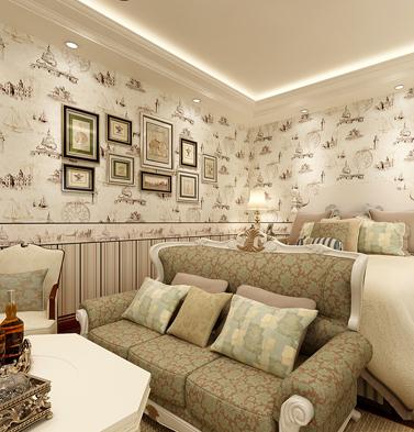 格林威尔 美式儿童布鲁斯特风格墙纸壁纸 卧室客厅帆船条纹ab版墙纸图片