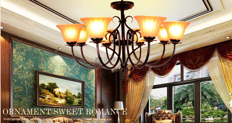 沃得欧式吊灯具客厅灯饰复式大厅吊灯复古简约美式铁艺黑色书房卧室灯图片