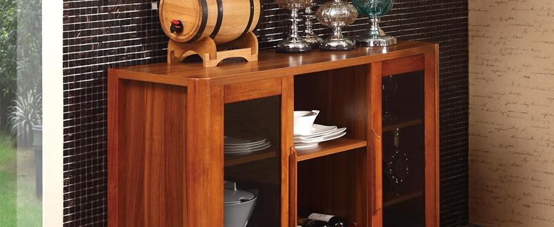 辣小椒家具 新中式 储物柜 实木框餐边柜 碗柜收纳柜图片