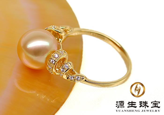 源生珠宝 豪华天然珍珠戒指 11-12mm南洋金珠戒指 k金