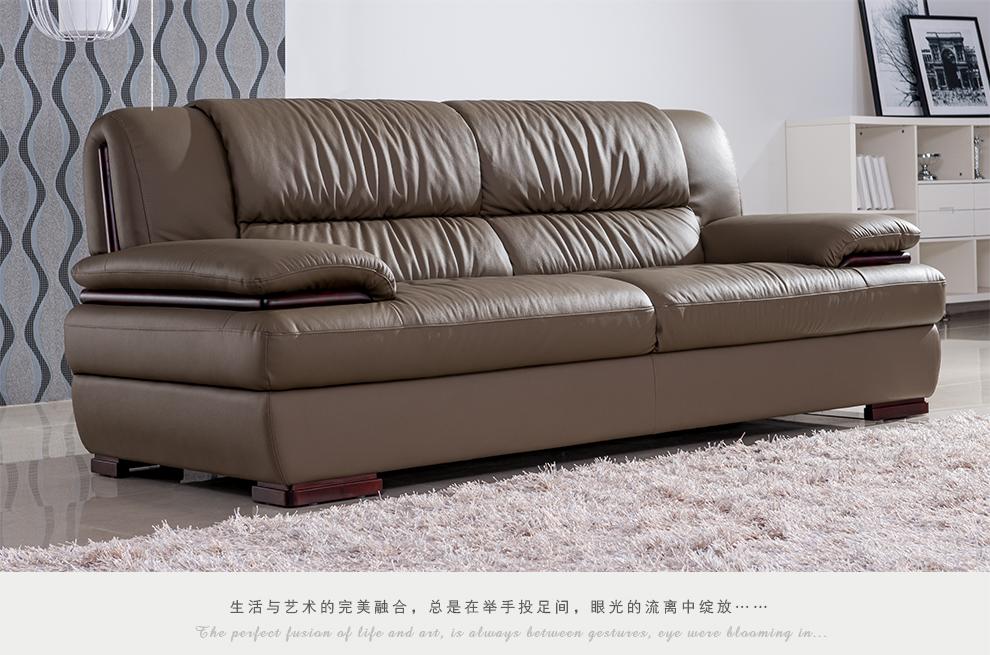 海马轩琴 客厅家具 真皮沙发组合 头层中厚皮 顾家风格915 三人位图片