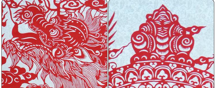 墨香阁 盘龙 剪纸 升官 高升 卷轴 镂空雕刻 中国特色