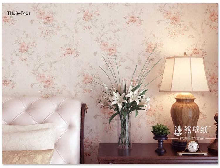 沐然卧室书房客厅田园无纺花纹壁纸 欧式田园墙纸 浅紫色