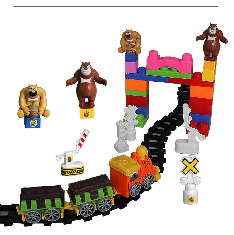 熊出没益智轨道玩具系列积木火车电动火车带