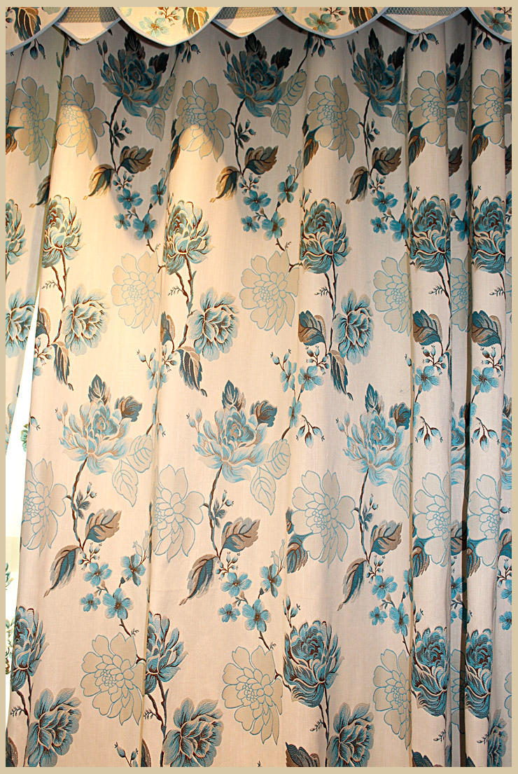 曼凯维奇 蓝色牡丹花色织提花中式风格 客厅卧室刺绣花纱 asm481-3兰图片