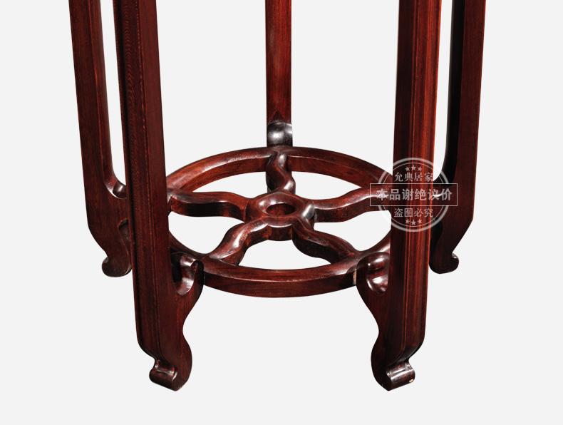 允典红木家具 红酸枝 古典明清仿古直角圆花架 花几 榫卯结构 红酸枝