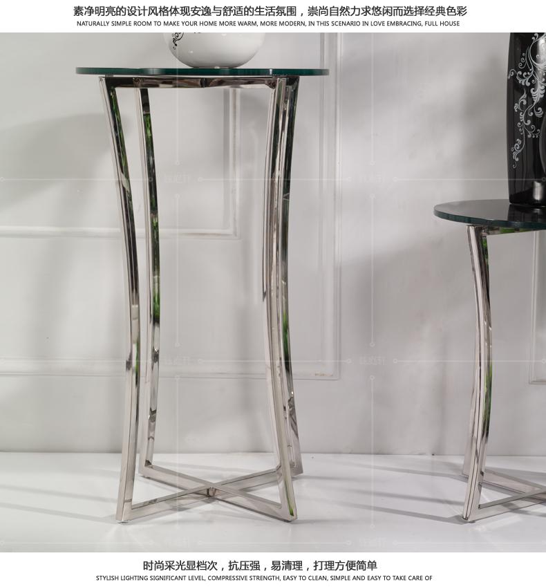钰庭轩家具 不锈钢花架 简约置物架 钢化玻璃盆景架 时尚创意花架图片