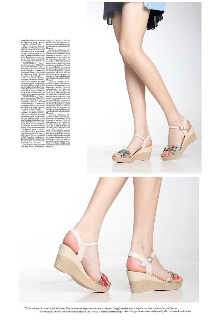 波西米亚坡跟凉鞋