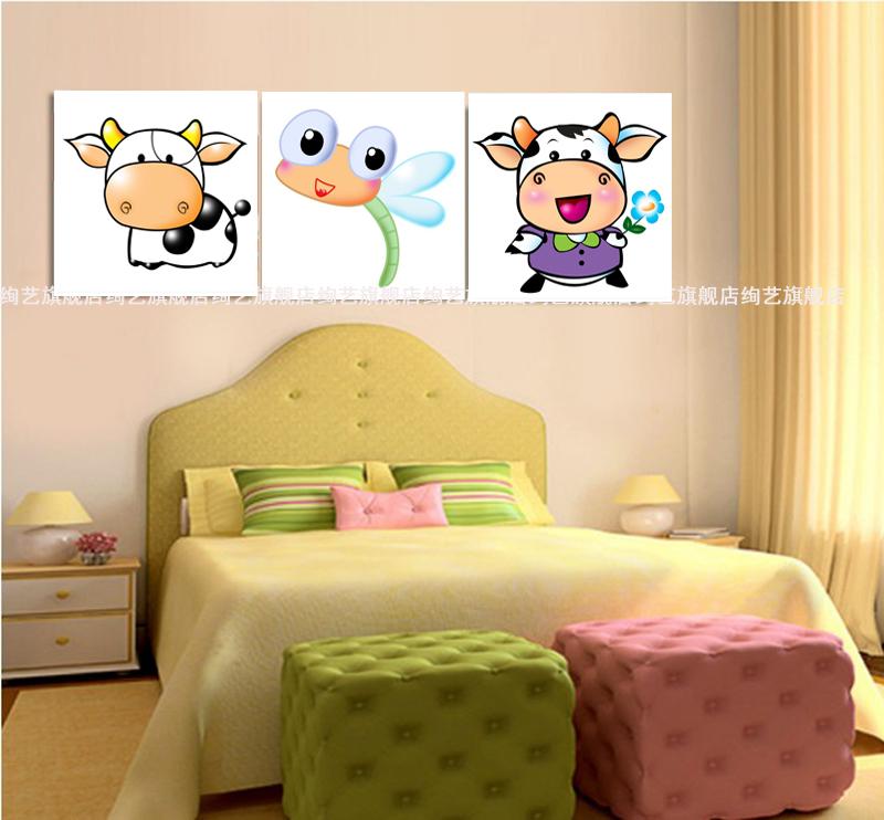 卡通小牛 卡通画儿童房卧室宝宝房最新款