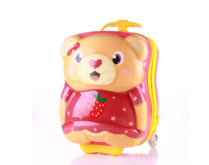 可爱时尚流行卡通小熊儿童拉杆箱旅行箱行李箱男女款 女熊 14寸