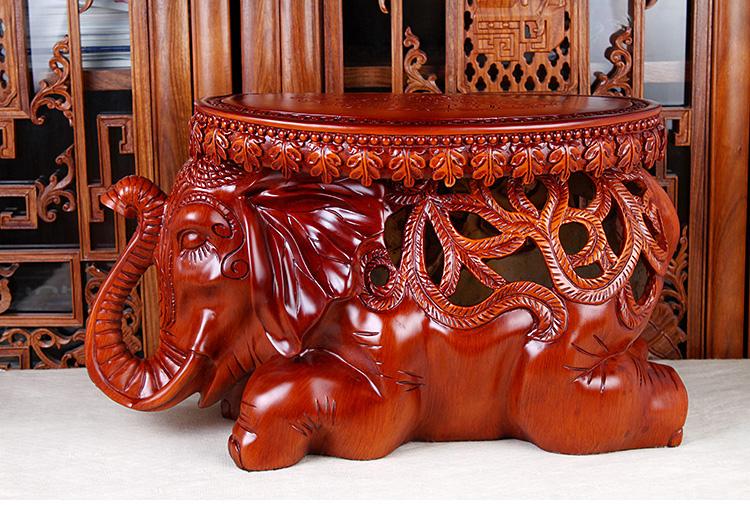 吉善堂 树脂大象摆件 欧式创意家居工艺装饰品镂空象凳摆设4088 镂空