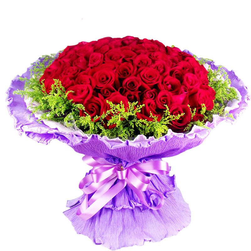 al0019 花材:99朵红玫瑰花鲜花,黄莺外围; 包装:白,紫色皱纹纸圆形