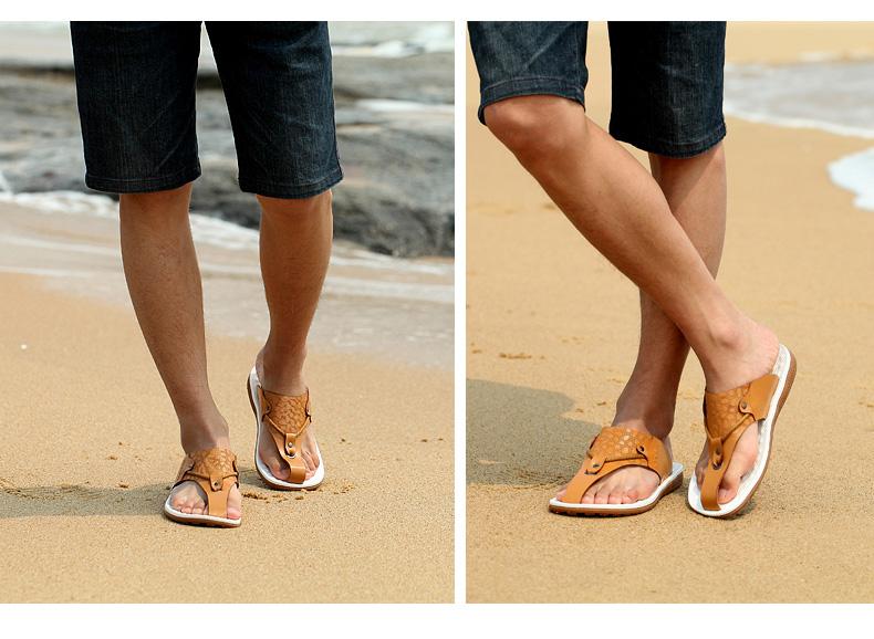 2014夏季新款头层牛皮男士凉鞋凉拖两用鞋
