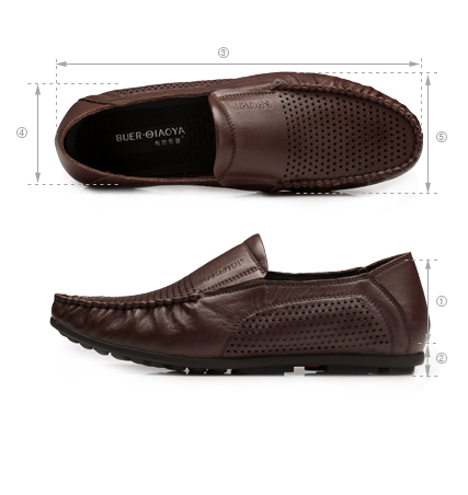 布尔乔亚男士休闲真皮套脚凉鞋舒软豆豆鞋
