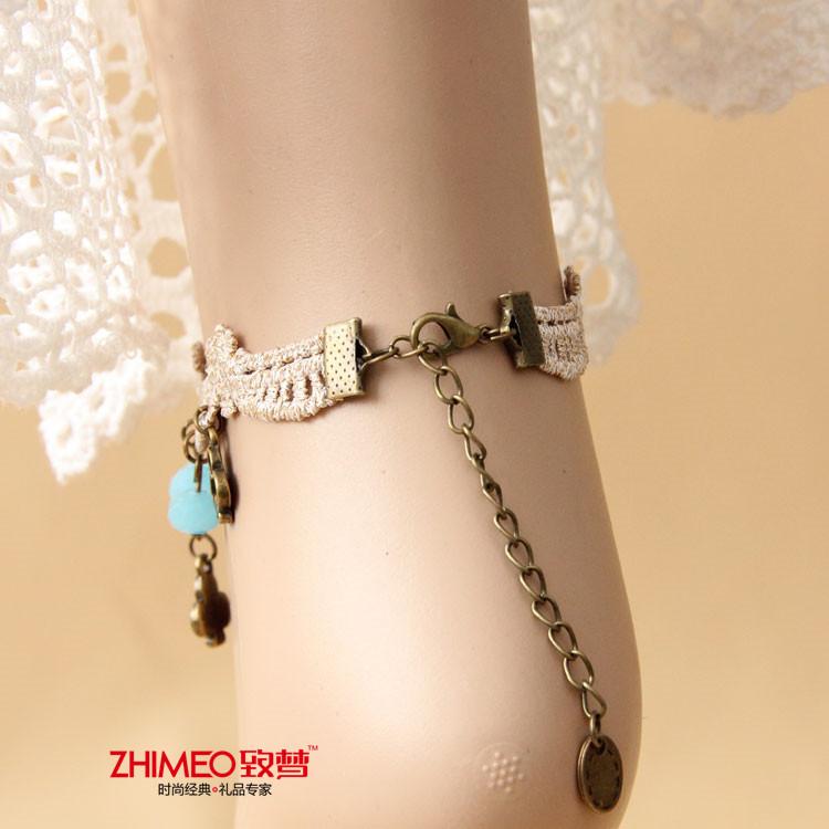 致梦 脚链 手链戒指一体链 复古蕾丝雪纺珍珠 送媳妇朋友闺蜜 新娘