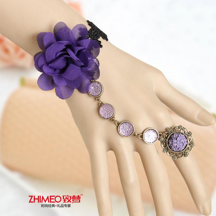 【致梦】手链戒指一体链,复古蕾丝雪纺珍珠 送媳妇送女朋友送闺蜜