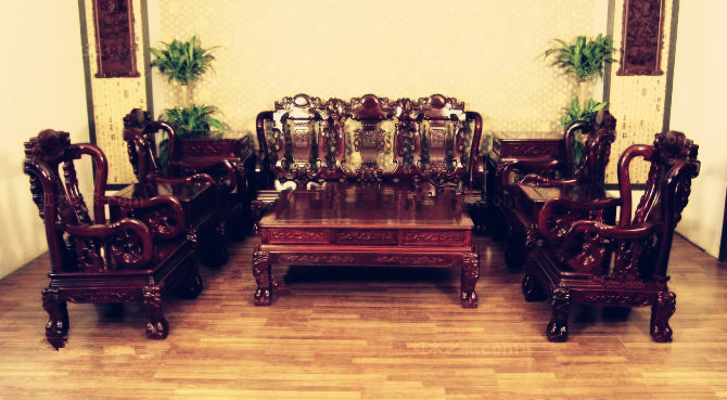 00 博古恒韵 实木家具 鸡翅木沙发大清宝座茶几 仿古红木家具 jcm167图片