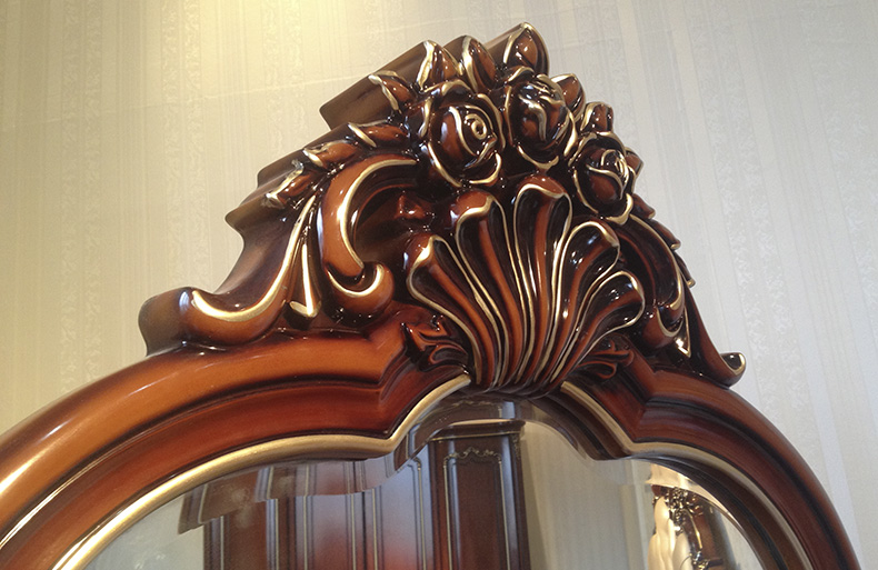 欧式法式实木雕花梳妆台妆镜妆凳三件套