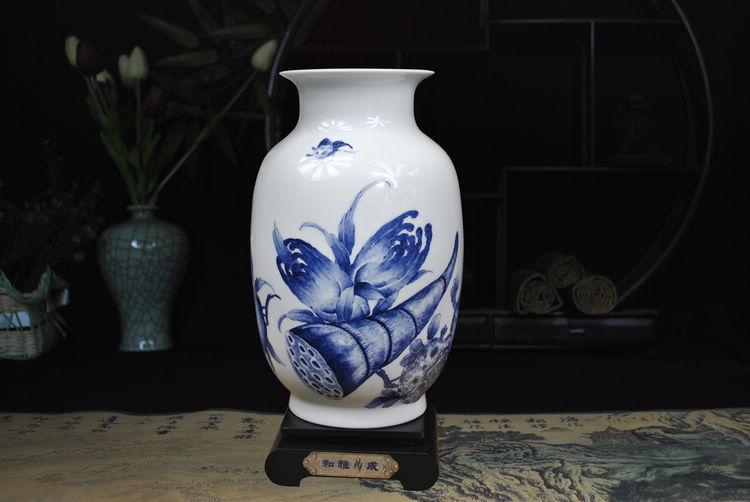 雅川礼瓷 景德镇大师手绘青花陶瓷器收藏品花瓶 客厅办公室装饰工艺品