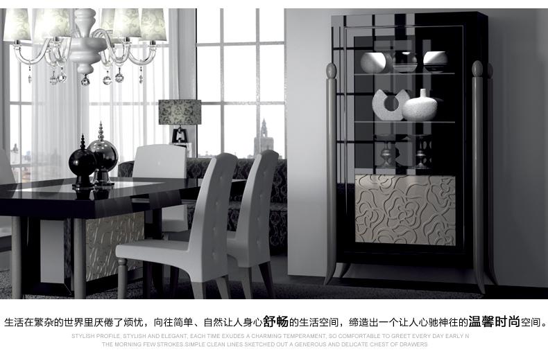 欧式后现代简约家具 实木宜家 酒柜 展示柜 餐边柜 烤漆 ve-g902 黑色