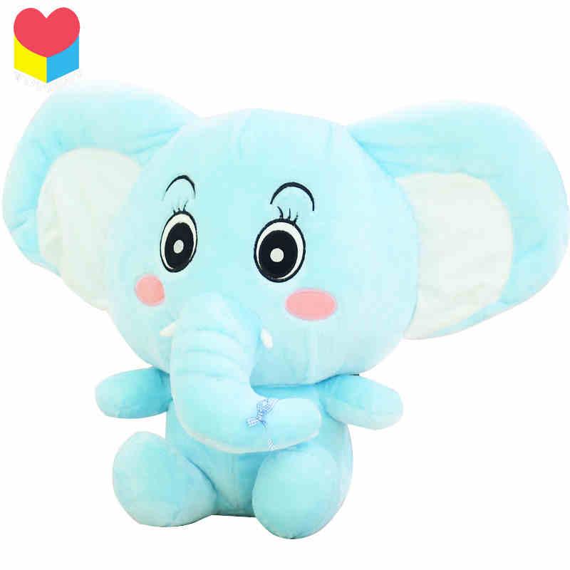 可爱大象公仔 长鼻子大象抱枕 大象抱枕 动物玩具 黄色 60厘米