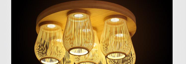 比月中式灯具竹丝编织创意田园客厅餐厅卧房舒服木质吸顶灯3130图片