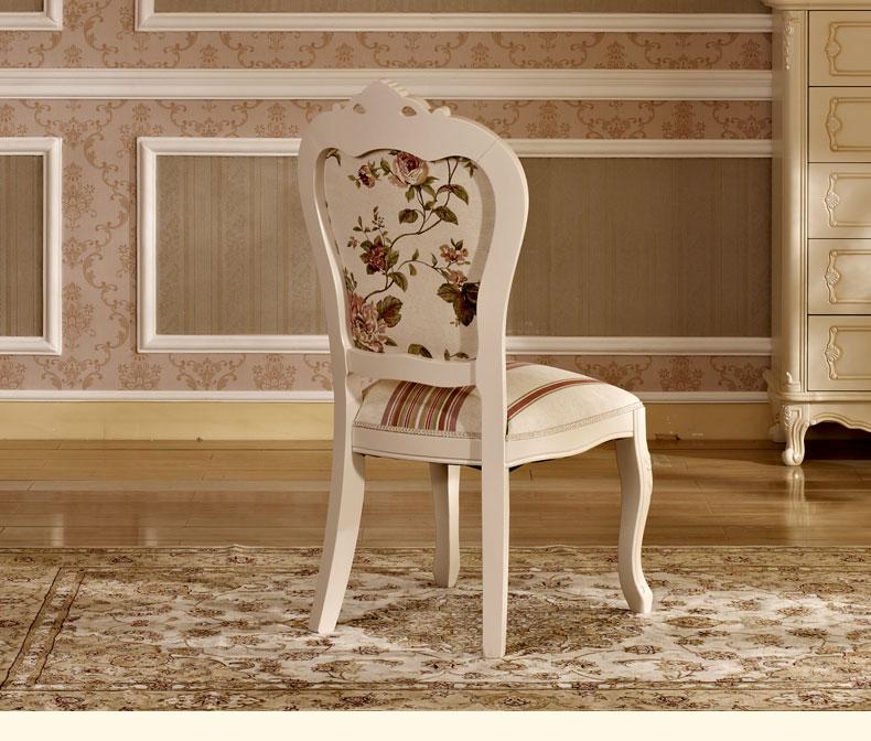 欧式雕花白色实木餐椅子
