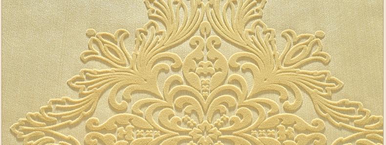 欧式奢华天鹅绒卧室植绒壁纸