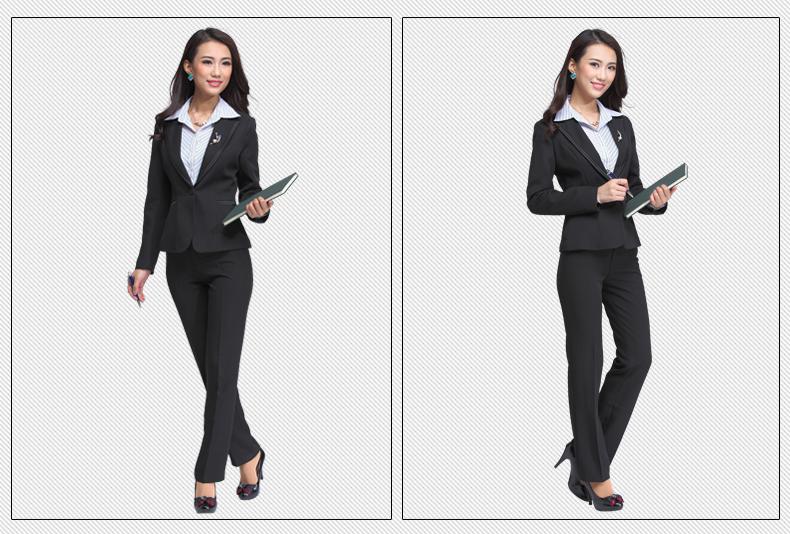 013修身女士正装职业套装秋冬女装时尚 白领西装套裤套裙工作服 一