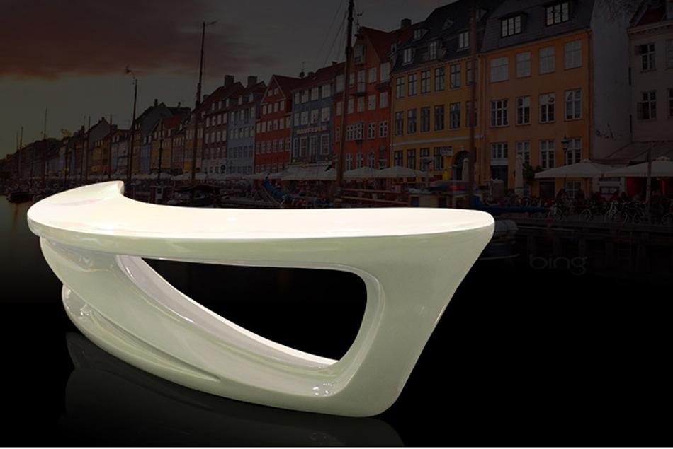 霍客森月亮凳 玻璃钢弧形长凳 会所休闲凳 休息坐凳 公共商场凳 红色