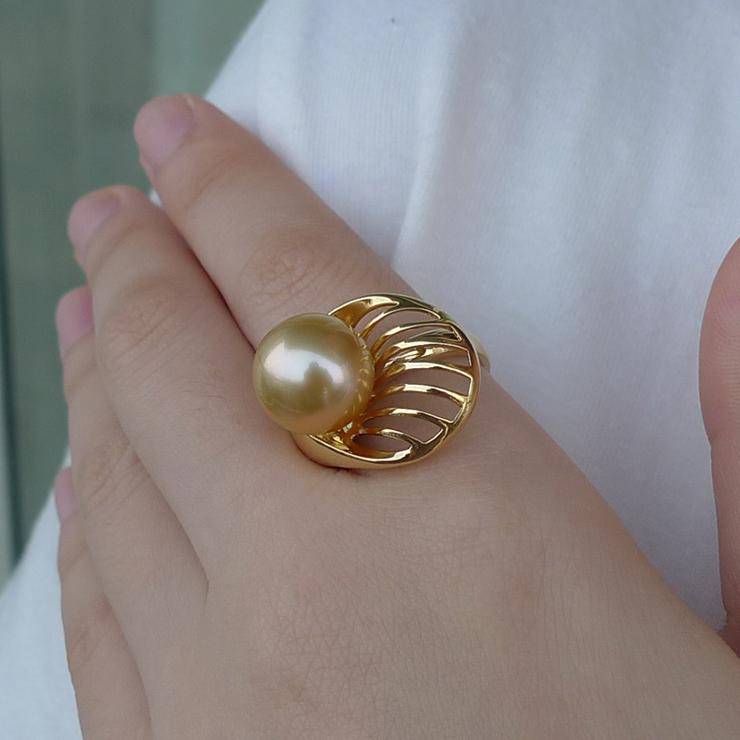 海臣珍珠 精品天然海水珍珠 南洋金珠珍珠戒指11.8mm