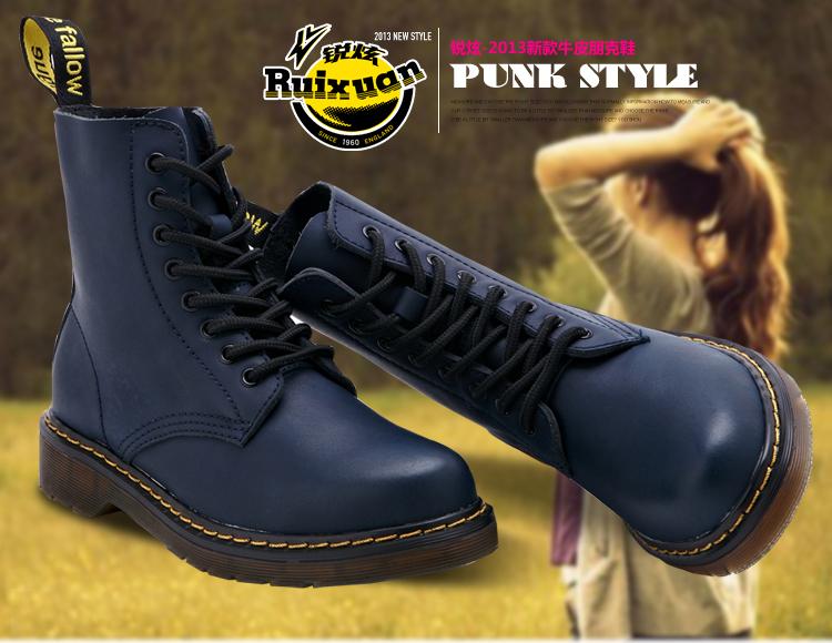 牛皮透气马丁鞋女款平跟鞋靴子