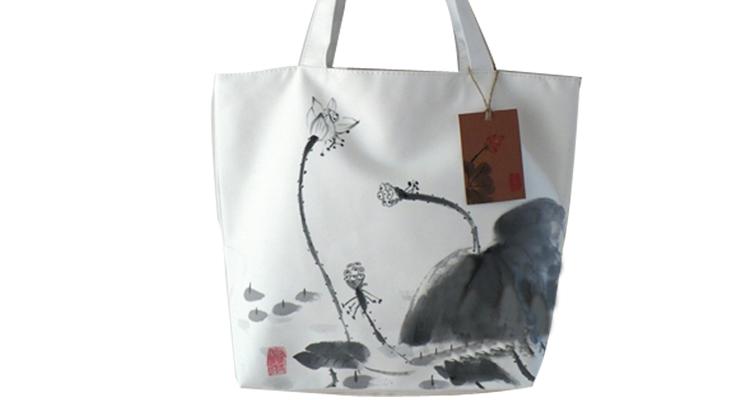 中国风民族手绘画单肩手提帆布休闲女士专用包