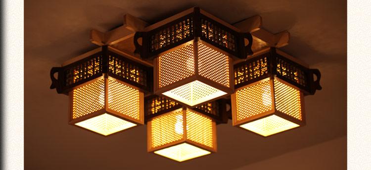 比月中式灯具复古雕花窗格客厅卧室书房实木羊皮吸顶灯3105图片