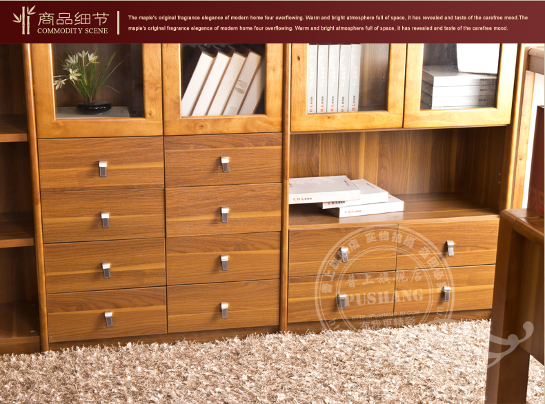 普上 转角书柜实木书柜子田园书架转角组合书柜玻璃门
